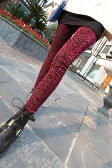 2013 Sexy New Leggings Women Pleuche Velvet Hollow Pantyhose Tights Pants Red