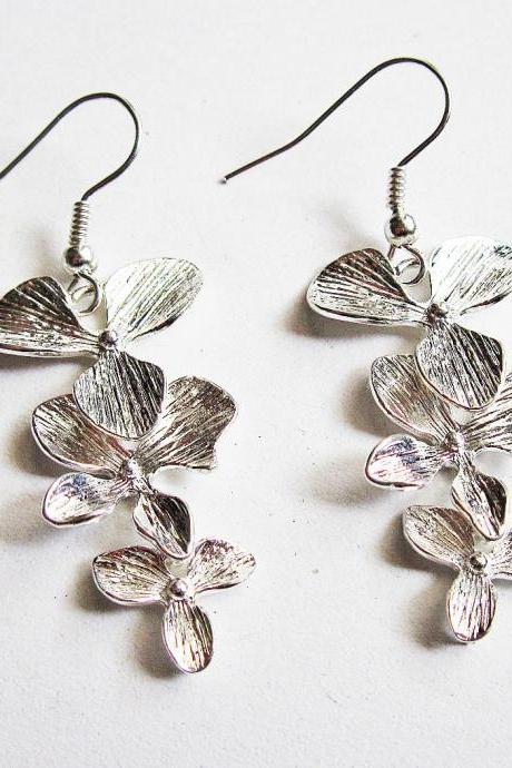 Orchid Flower Earrings Silver, Wedding jewelry, bridesmaid gifts, birthday, anniversary, Orchid Earrings