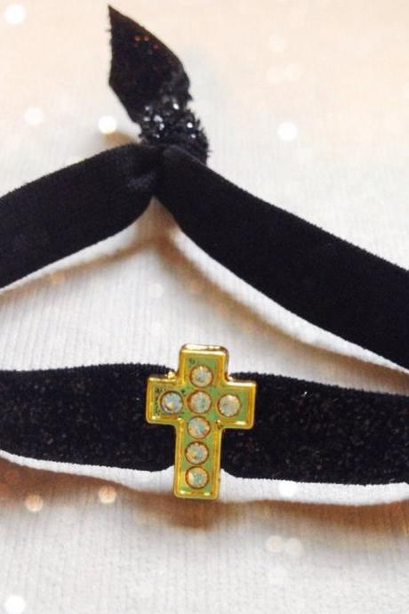 Gold Rhinestone Cross Charm Skinny Black Glitter Hair Tie - Bracelet by Elastic Hair Bandz on Etsy