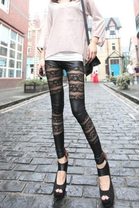 Womens lady Sexy Lace Stretch Faux Leather Leggings Pants Tights Black, Sexy leggings, Sexy leggings, Black Leggings, black pants, cute leggings, Lace Leggings, Pantyhose Leggings