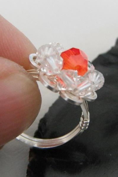 Wire wrapped Orange Heart Swarovski Crystal Flower Ring