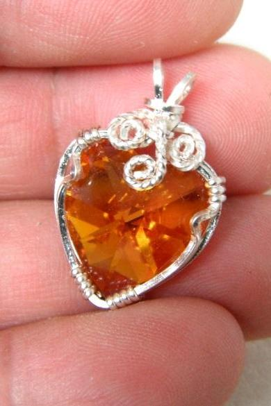 Wire Wrapped Swarovski Crystal Heart Pendant - Champagne Color