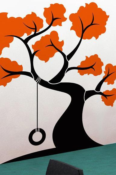 Huge Tree with tire swing wall decal - Perfect for Nursery or Kid's Room - 69' x 72'