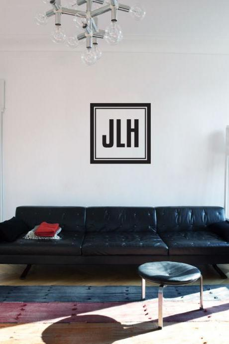 Custom Monogram Square - 3 Letters - Vinyl Wall Art Decal Sticker