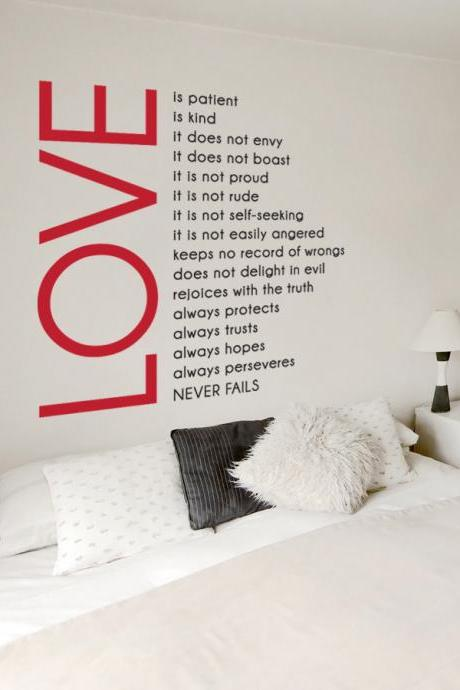 Love is Patient Love is Kind - Two Color Wall Quote - Vinyl Wall Art Decal Sticker
