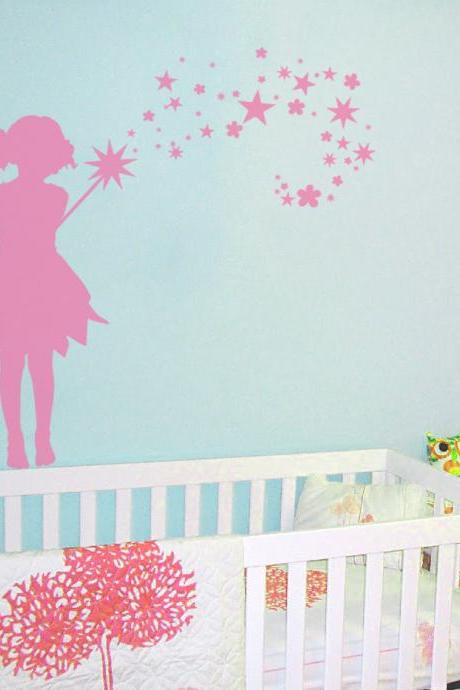 28' Fairy Stars and Flowers Wall Decal - Children's Room and Nursery Vinyl Wall Art Decal Sticker