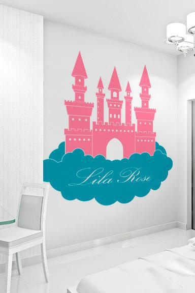34' Princess Castle in Clouds - Custom Name Wall Decal - Children's Room and Nursery Vinyl Wall Art Decal Sticker