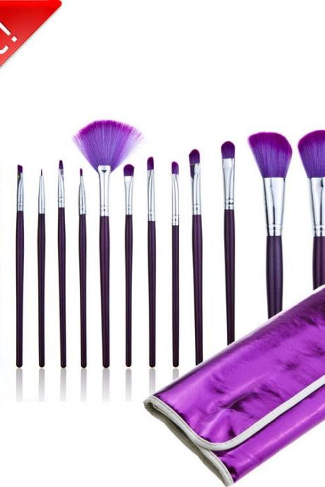 Good Quality 16Pcs Professional Cosmetic Makeup Brushes Set With Leather Bag - Purple