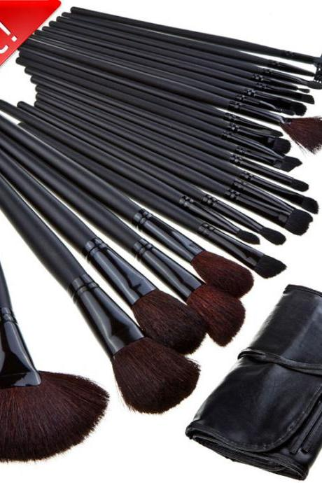Wholesale Good Quality 24 pcs Makeup brushes set With Black Leather Bag