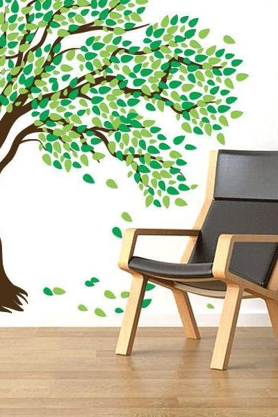 Giant Windy Tree Wall Decal - Great for nursery's and kids room - 84' x 84'