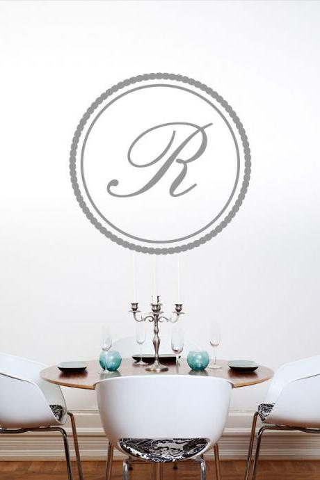 Custom Monogram Circle 1 Letter - Vinyl Wall Art Decal Sticker
