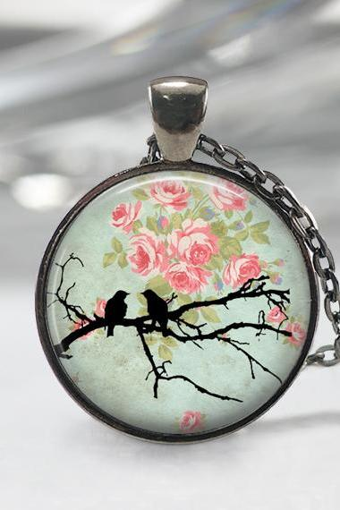 Birds Glass Pendant,Birds Jewelry,Rose Necklace, Birds Charm,Gift For Bird Lover,Art Pendant