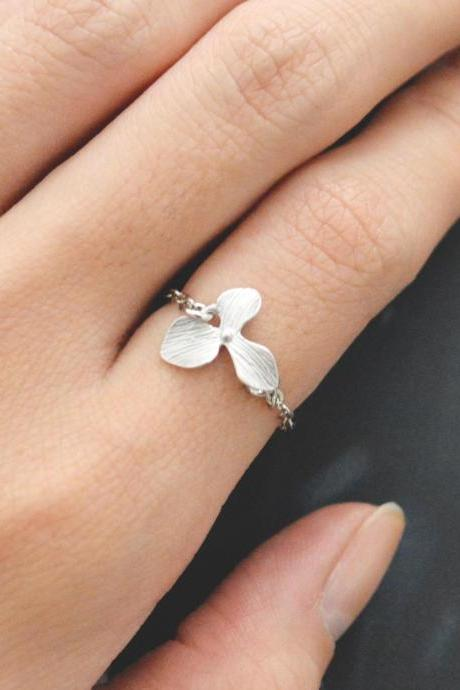 Orchid ring, Flower ring, Chain ring, Pendant ring, Simple ring, Modern ring, Silver plated ring/Everyday/Gift/