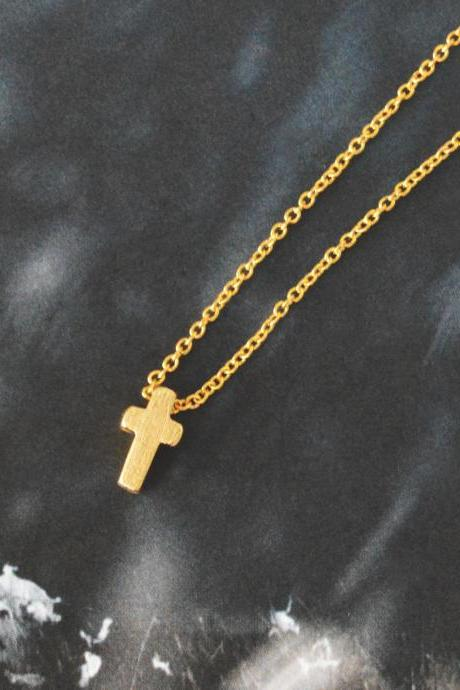 Mini cross necklace, Simple Necklace, Modern necklace, Girls necklace, Gold plated/ Bridesmaid gifts / Everyday jewelry /
