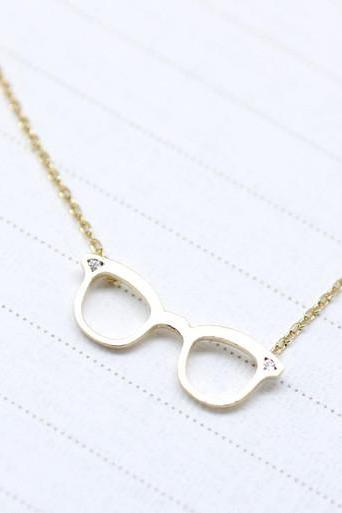 Cute Glasses charm Necklace detailed with CZ in Gold