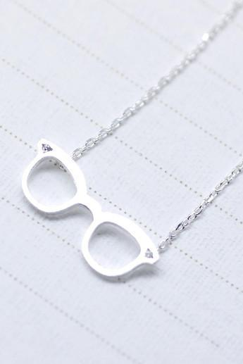 Cute Glasses charm Necklace detailed with CZ in Silver