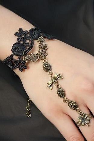 DIY Quality vintage lace bracelet with ring wrist fashion girl jewelry gift