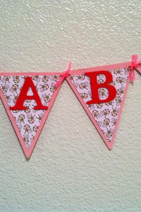 BABY Banner - Pink Monkey