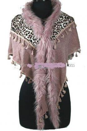 Leopard Printed Shawl - Light Purple/Pink