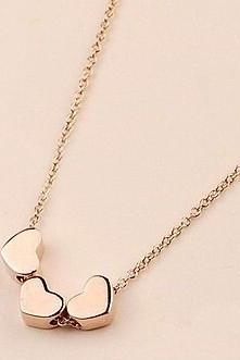 Pendant Necklace Charm 18K Rose Gold Plated Titanium Three Lovely Heart