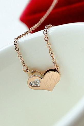 14K Rose Gold Pendant Necklace Charm Titanium Ladies Love Double Heart Rhinestone Women Jewelry