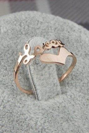 14K Rose Gold Ladies Ring Titanium Steel Romantic Letter Love Heart Fashion Lovers Jewelry