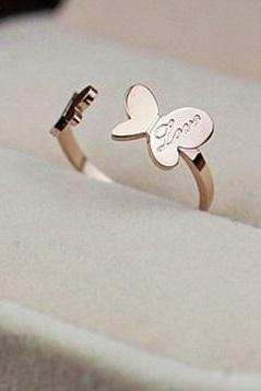 14K Rose Gold Ladies Ring Titanium Steel Opening Letter Love Double Butterfly Couples Jewelry
