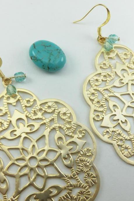 Turquoise Gold Earrings Large Filigree Boho Chic Large Statement Jewelry Metal