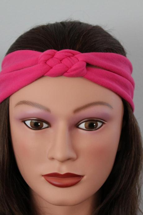 pink Knotted Jersey Headband, T-Shirt Headband, Sailor's Knot Headband, Yoga Headband, pink adult girl hairband
