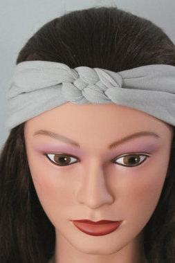 light grey Knotted Jersey Headband, T-Shirt Headband, Sailor's Knot Headband, Yoga Headband, grey hairband
