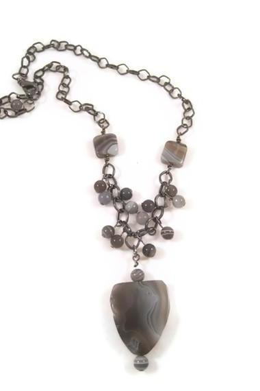 Necklace, Botswana Agate Gemstone Pendant Necklace with Gun Metal Chain, Light Blue, Grey, and White