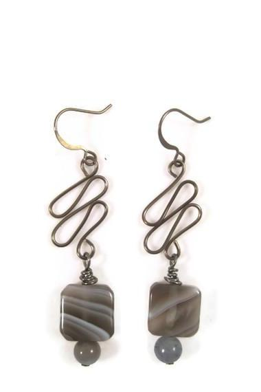 Earrings, Gun Metal Wire Wrapped Dangle Earrings with Botswana Agate Gemstones on Gun Metal Earrings
