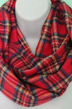 red plaid infinity scarf, flannel Infinity Scarf -Circle Scarf -plaid Loop Scarf, Eternity Scarf, Fall Scarf, Winter Scarf, woman scarf
