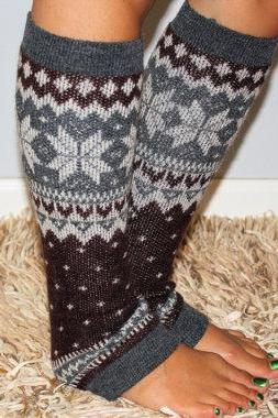 Women's brown Knitted Leg Warmer or Boot Topper with pattern, Stocking Stuffers, stripe open boot socks