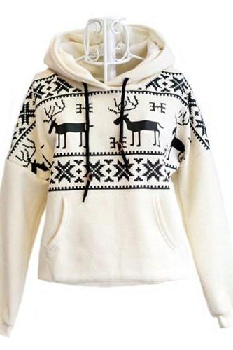 White Deer Hooded Sweatershirt For Women