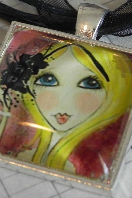 Glitter Girl glass tile pendant NEW LOWER PRICE