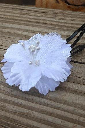 Flower Hair Clip - Fabric Flower Hair Accessory - Small White Flower - Handmade Hair Accessories by Empyrean Artistry