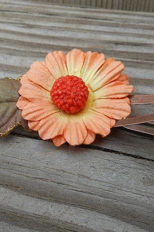 Flower Hair Clip - Fabric Flower Hair Accessory - Small Gold and Red Flower - Handmade Hair Accessories