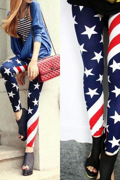 Womens Sexy Stretch Vintage US American Flag Tights Leggings Pants, Sexy leggings, Sexy Stockings, cute leggings, Milk Silk Leggings