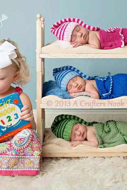 Triple Doll Bed Bunk Bed Mattresses and Ladder Newborn Photography Prop Triplets, Boy Prop, Girl Prop