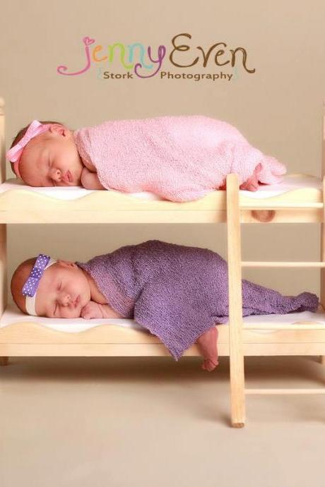 Newborn Twins Small Whimsical Boy or Girl Photography Prop Posing Bunk Bed Mattresses American Girl Doll Bunk Beds