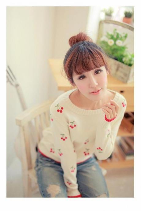 Fall Winter Cherry Sweater