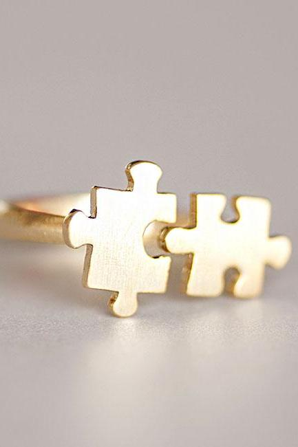 Gold Jigsaw Puzzle Ring, Adjustable Open Band Ring, Whimsical Jewelry