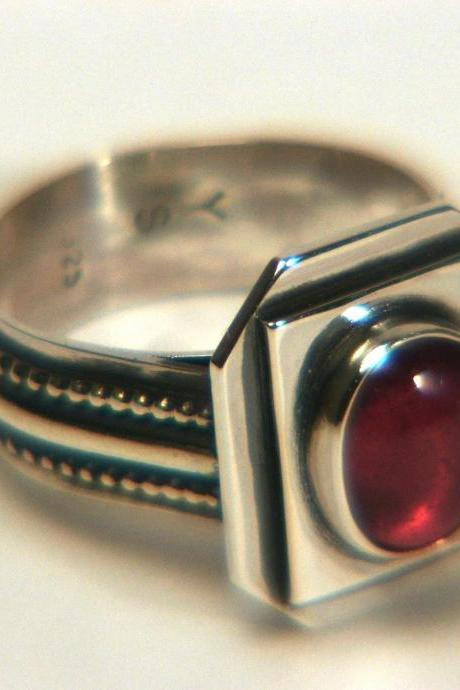 Natural Vintage Ruby Silver Ring