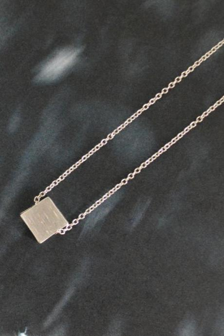 Mini silver square, Simple necklace, Modern necklace, White gold rhodium plated chain/Bridesmaid gifts/Everyday jewelry/