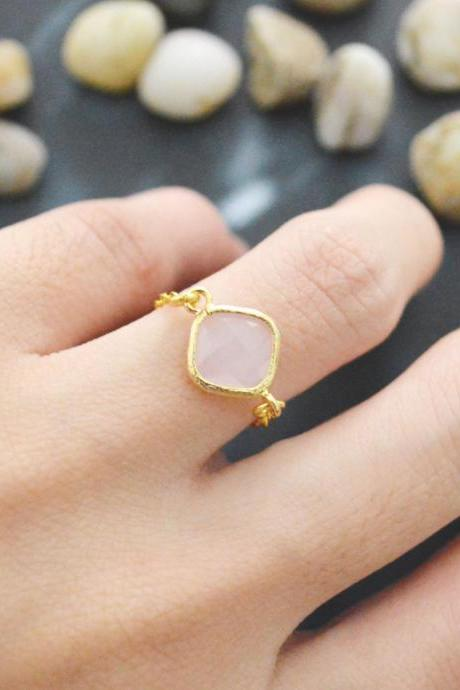 Chain ring, Gold Frame ring, Ice Pink Glass ring, Simple ring, Modern ring, Gold plated ring/Everyday/Gift/