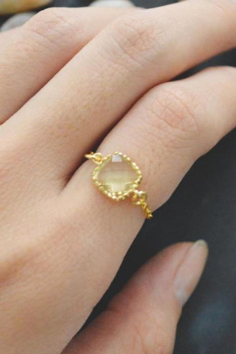 Chain ring, Lemon Square Glass ring, Gold Frame ring, Simple ring, Modern ring, Gold plated ring/Everyday/Gift/