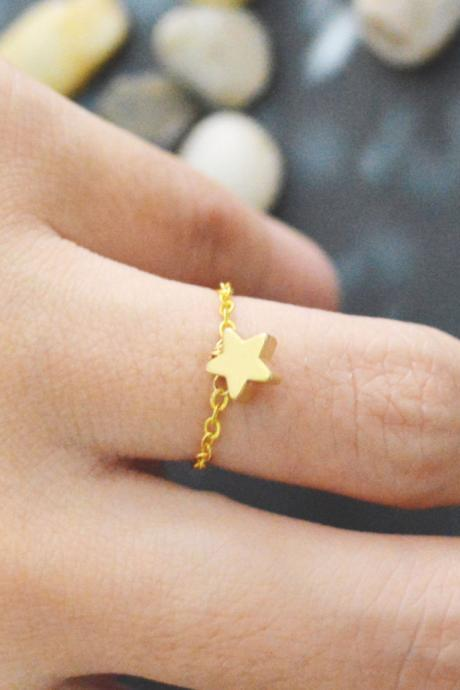 Chain ring, Star ring, Simple ring, Modern ring,Pendant ring, Gold plated ring/Everyday/Gift/