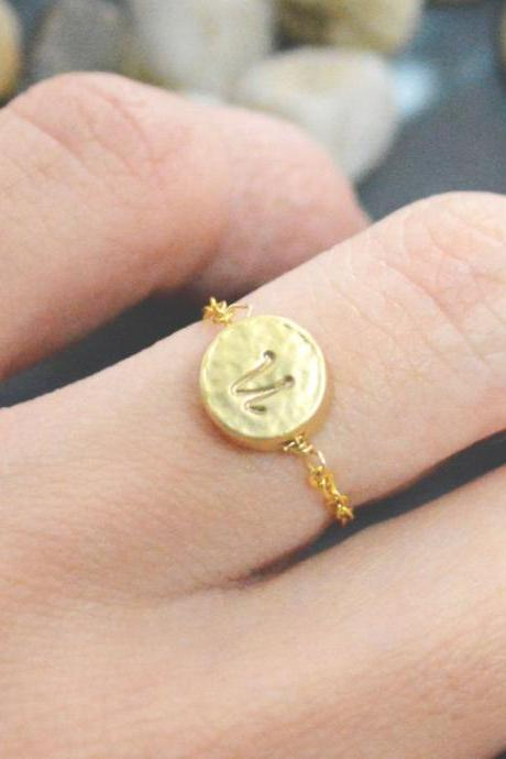 Chain initial ring,Hand Stamped Initial coin ring, Coin ring, Circle ring, Simple ring, Modern ring, Gold plated ring/Everyday/Gift/