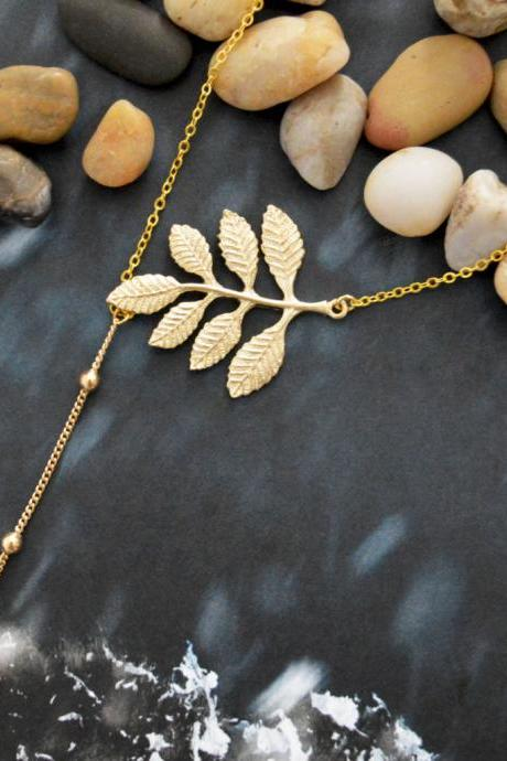 Asymmetrical topaz drop Necklace, Dangle necklace, Leaf necklace, Gold plated chain/Everyday jewelry /Special gift/